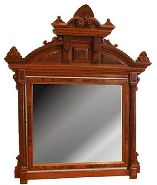 Victorian Walnut Wall Mirror 7103 Ebay