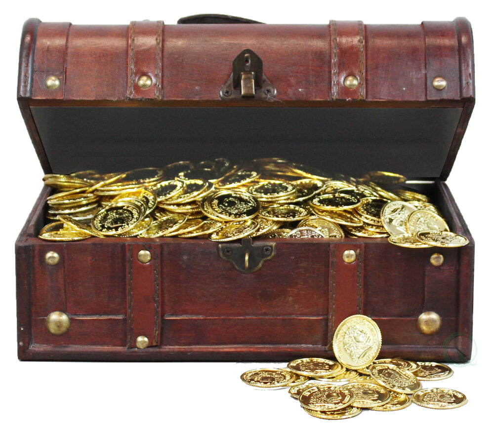 New Decortive Gifts Pirate Treasure Chest with 144 Coins ...