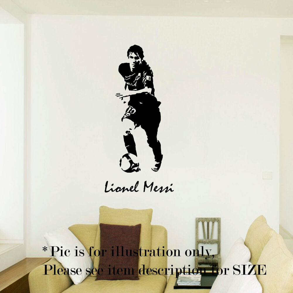 Lionel messi barcelona football sport wall art stickers for Cristiano ronaldo wall mural