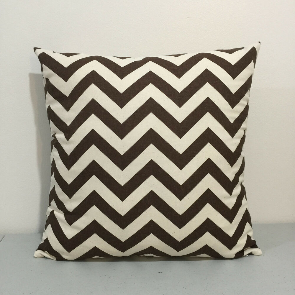 Throw Pillow Covers Brown : Off-White / Brown Zigzag Chevron Home Accent Throw Pillow Cover Pillow Case eBay