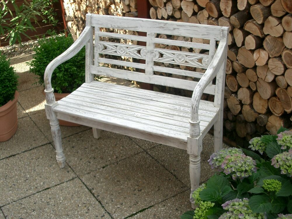 gartenbank holz teak massiv 2 sitzer bank antike form verzierungen whitewashed ebay. Black Bedroom Furniture Sets. Home Design Ideas