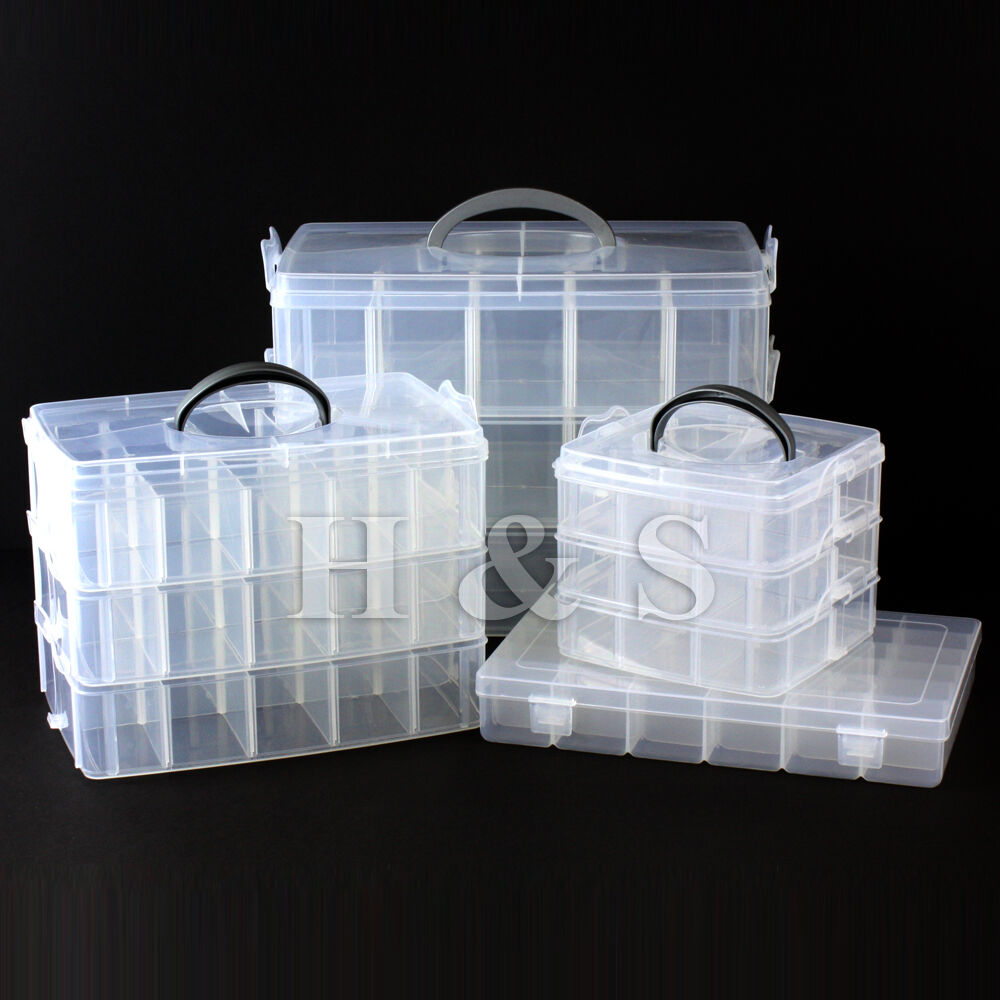 Clear plastic craft beads jewellery storage organiser for Craft storage boxes plastic