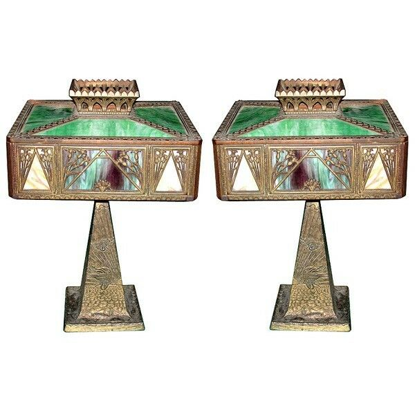 Pair Of Antique Cast Bronze Iron Table Lamps With Stained Glass Shades