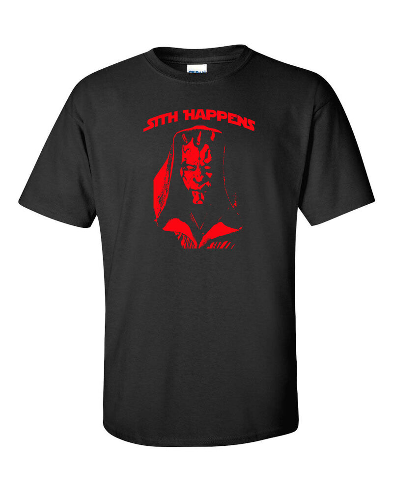 sith happens red print darth maul star wars return of jedi men 39 s tee shirts 895 ebay. Black Bedroom Furniture Sets. Home Design Ideas