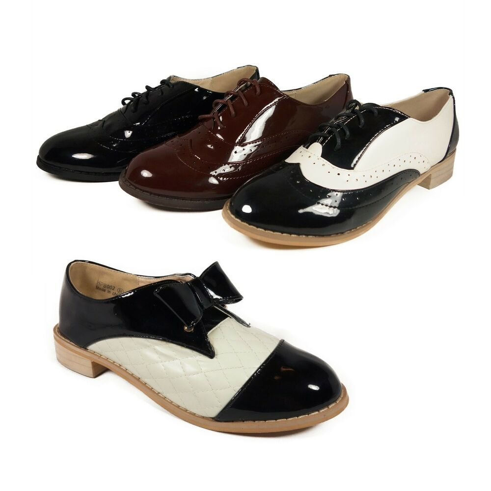 Stylish Ladies Lace Up Oxford Women Flat Shoes | EBay
