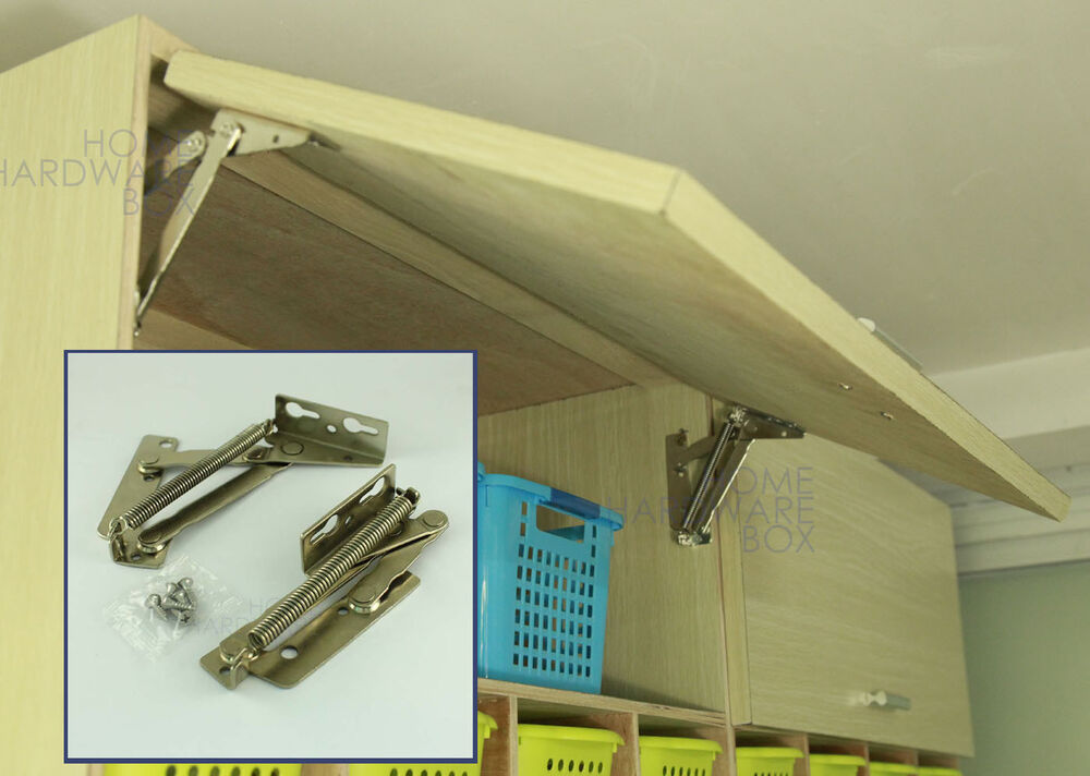 Lift Door Cabinet Hardware : Cabinet swing up door lift flap top support spring