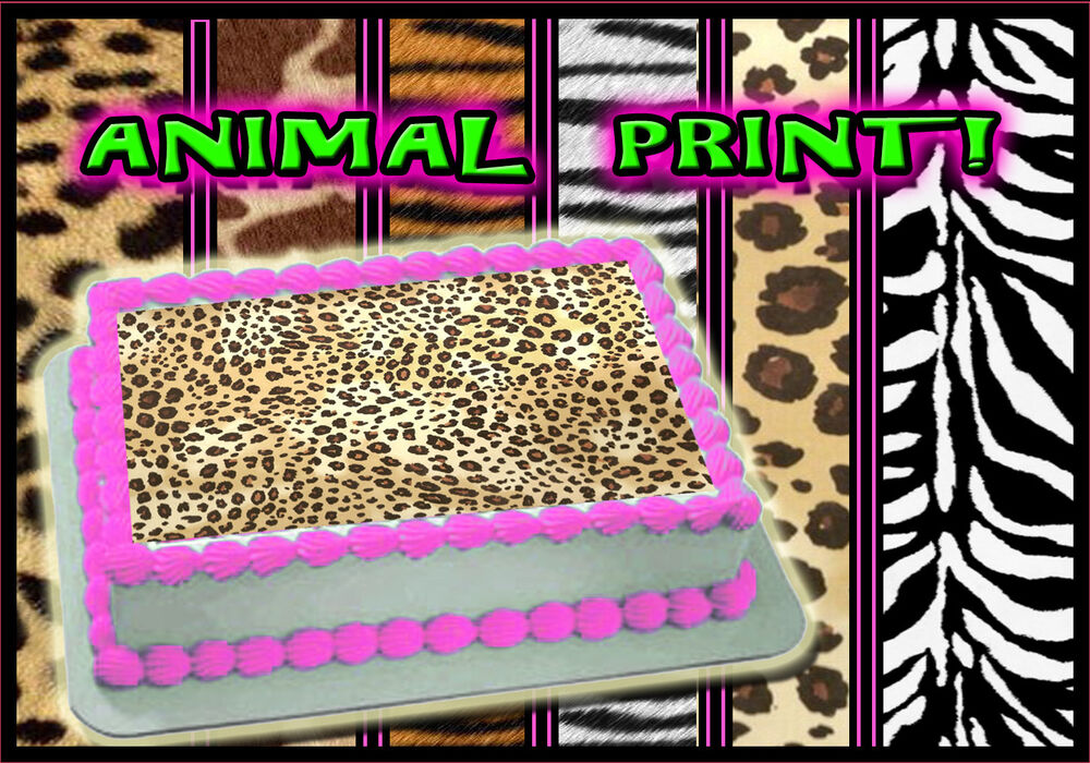 Edible cake toppers leopard cheetah zebra tiger sugar for Animal print edible cake decoration
