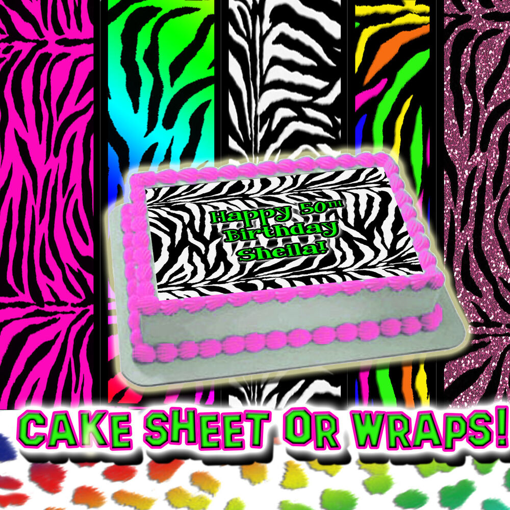 Zebra Print Sheets Or Wraps Birthday Topper Edible Picture
