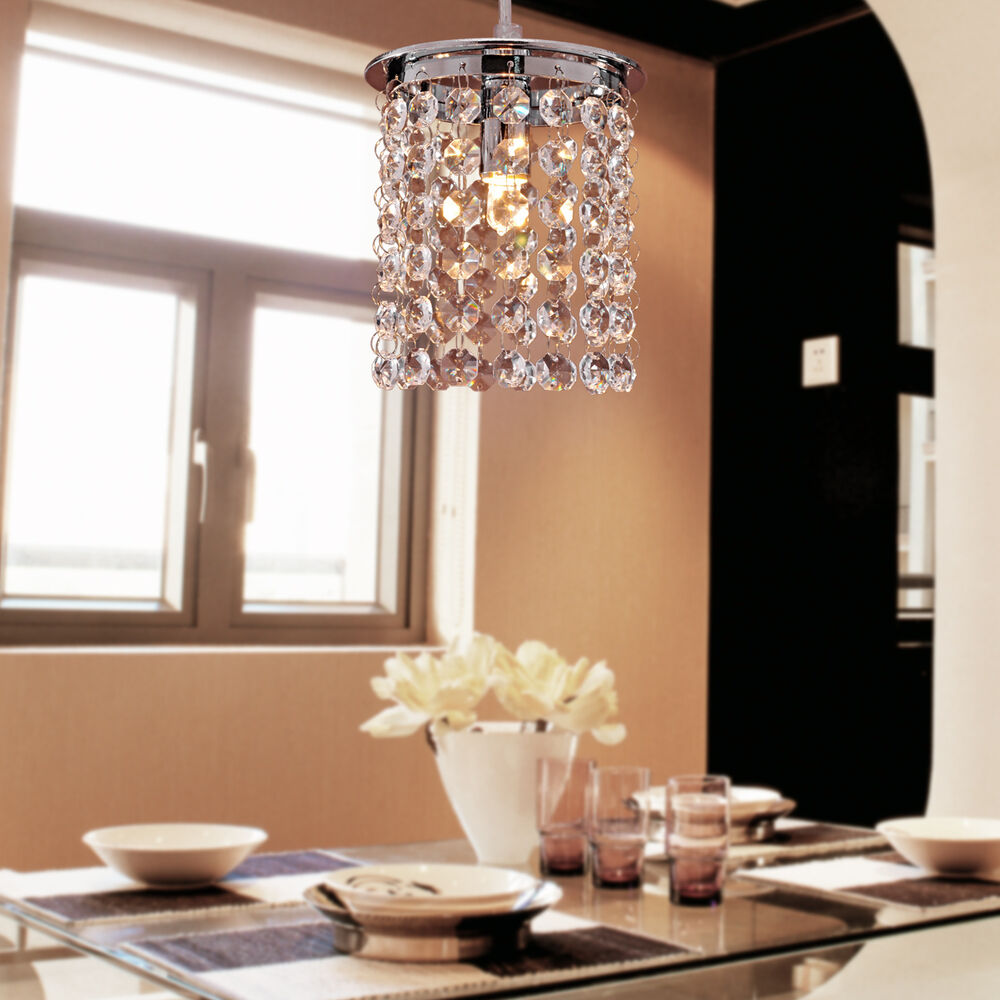 Modern crystal chandelier ceiling light adjustable pendant lights dining room ebay - Dining room crystal chandelier ...