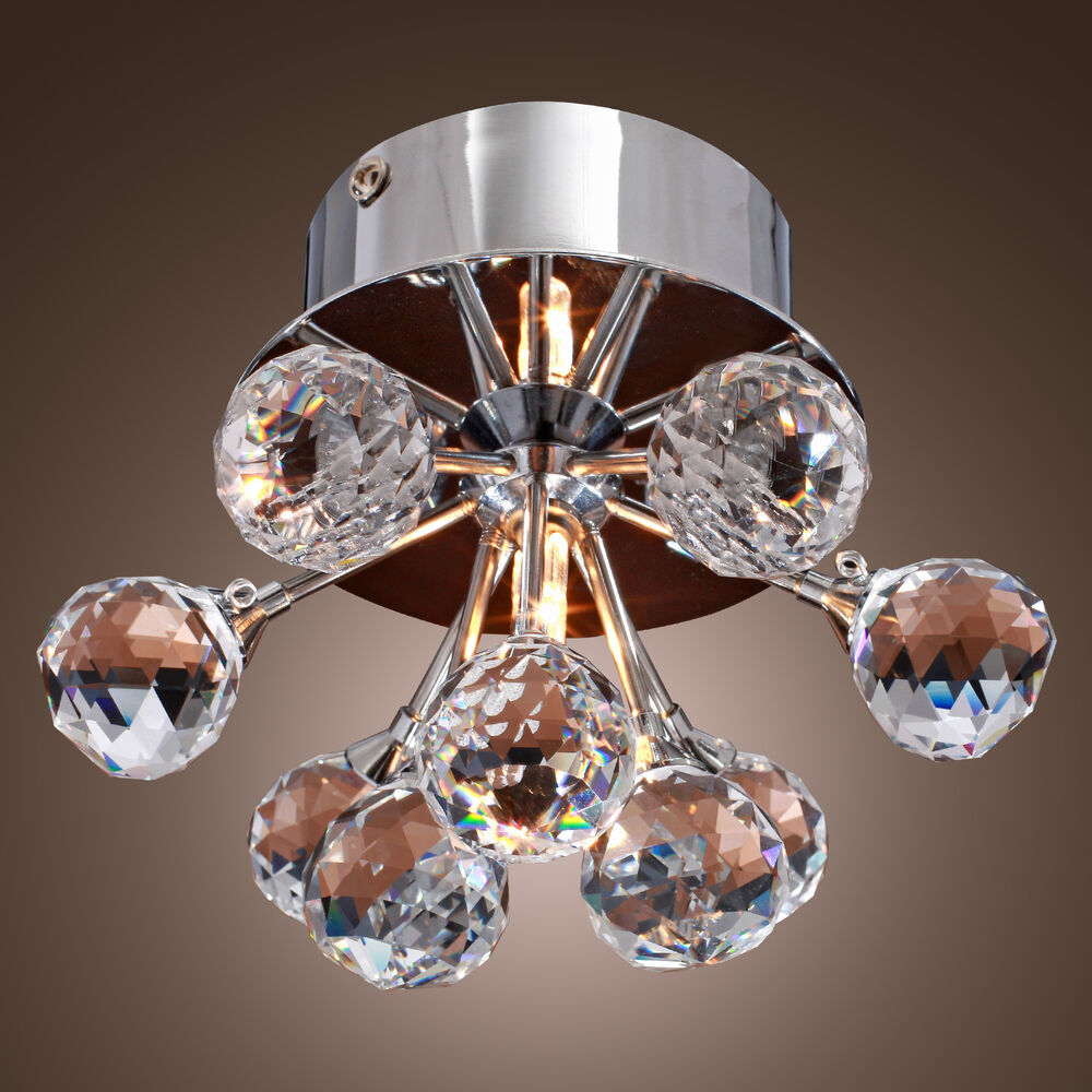 Modern Floral Shape Crystal Ceiling Light Fixture Flush
