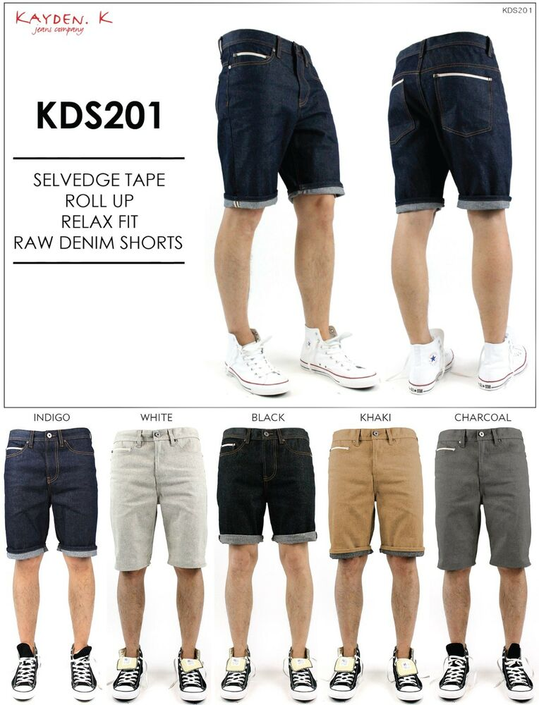 a97890a5 KAYDEN.K Men's Selvedge Tape Roll Up Relax Fit Raw Denim Shorts Size 30 -  40 | eBay