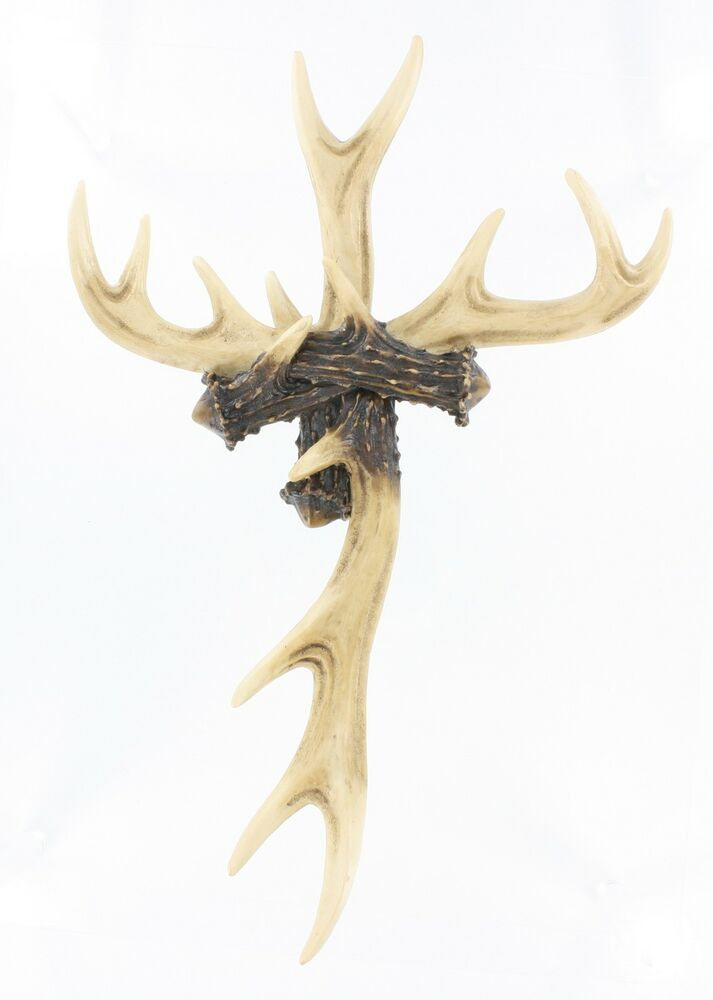 "Large 14"" x 9"" Antler Wall Cross"