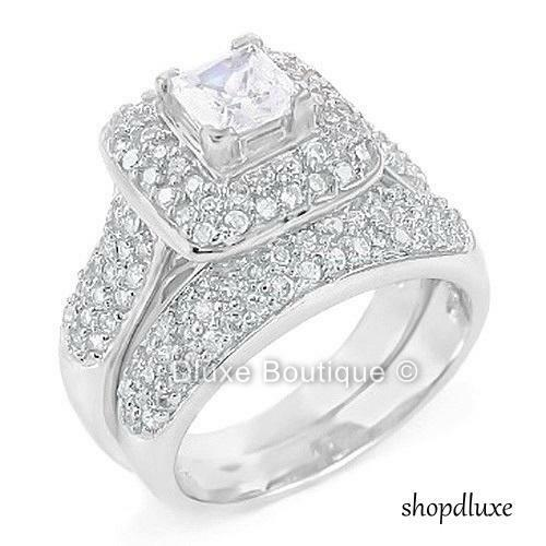 ct halo princess cut cz sterling silver wedding ring. Black Bedroom Furniture Sets. Home Design Ideas
