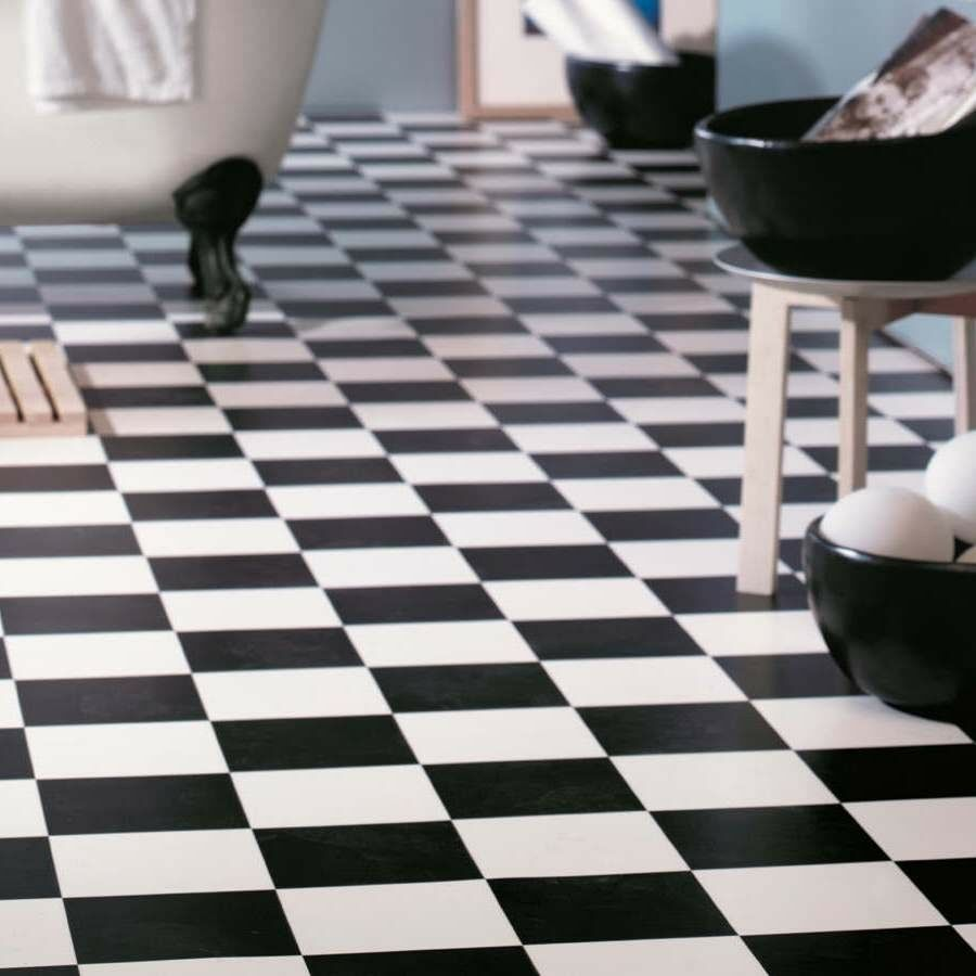 Cushion vinyl sheet flooring black white chequerboard - Dalle adhesive salle de bain ...