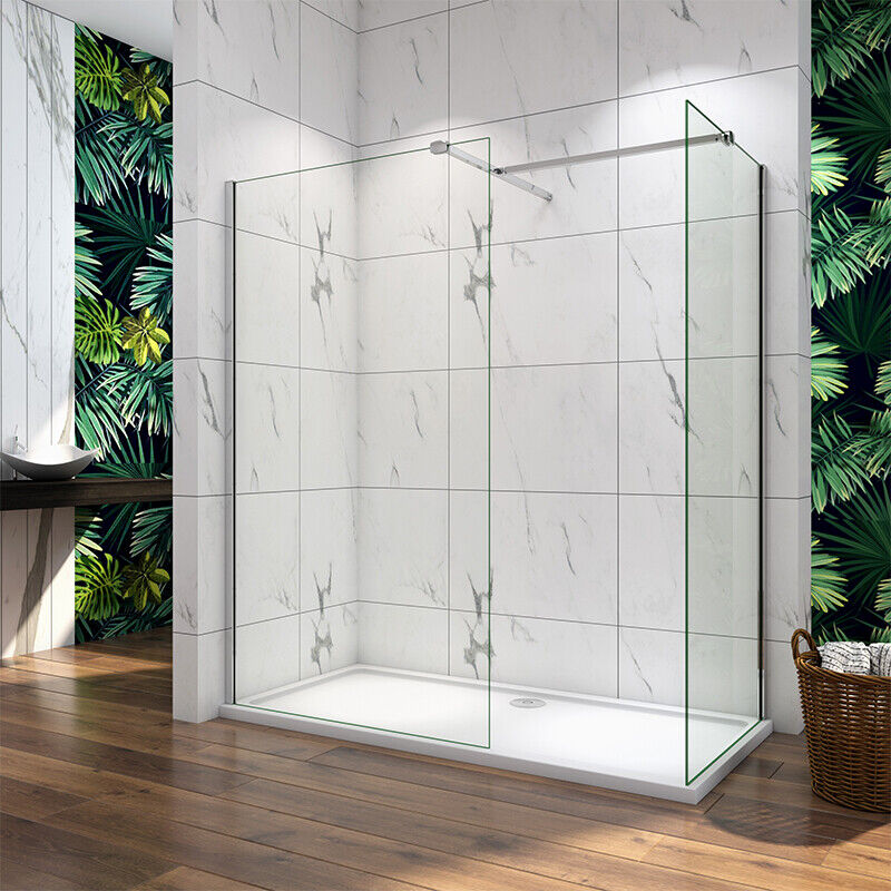 Walk in tall shower enclosure 8mm glass screen cubicle side panel stone tray v2 ebay - Walk in glass shower enclosures ...