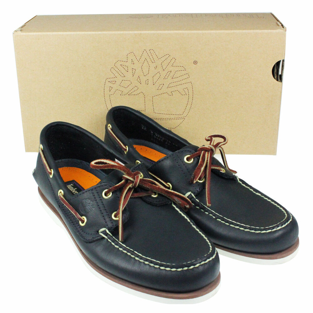 Mens Timberland Classic 2 Eye Navy Leather Boat Deck Lace