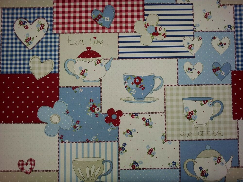 fryetts teatime blue patchwork fabric curtain upholstery ebay
