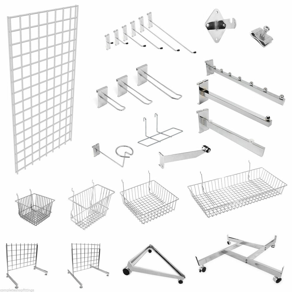 grid wall gridwall mesh chrome retail shop display panel accessory hook arm arms