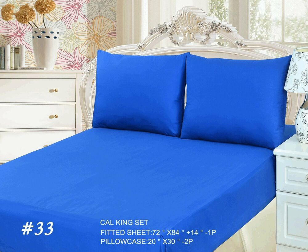 2 to 3 piece 100 cotton solid deep blue pocket fitted bed