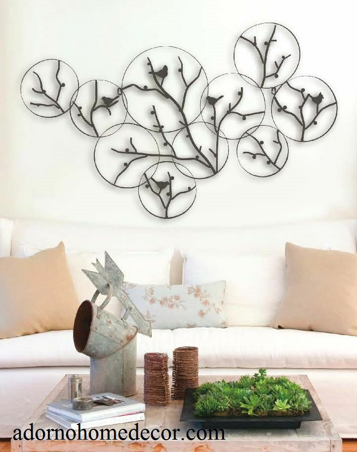 Modern metal tree circle bird wall decor contemporary rustic cottage art chic ebay - Modern rustic wall decor ...