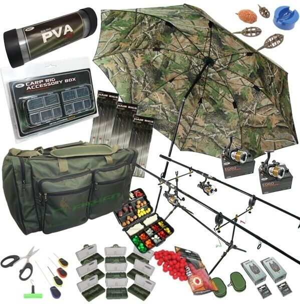 Full carp fishing set up rods reels hair rigs bite alarms for Rigged fishing backpack