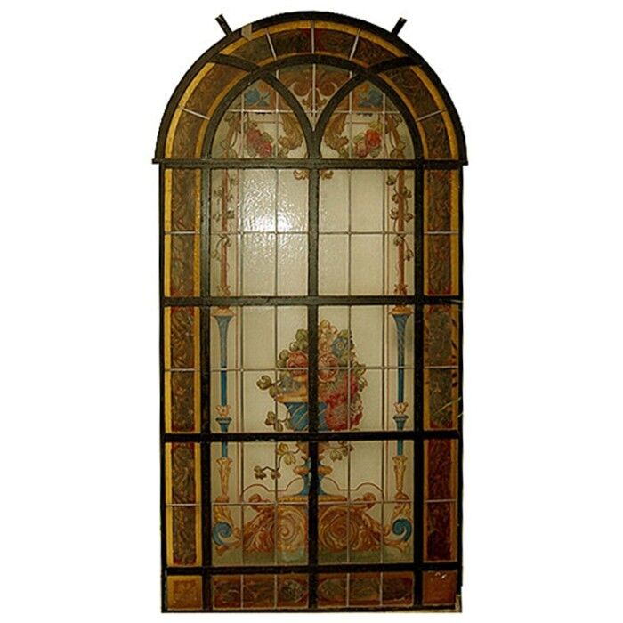 Transom Windows: Hand-Painted & Leaded Antique Stained Glass Window #6582