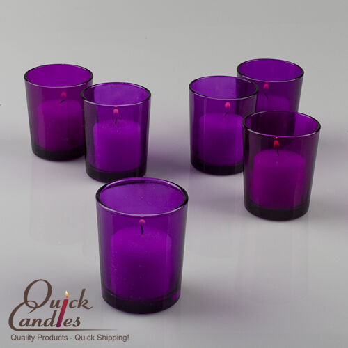 Eastland Votive Candle Holders Purple Glass Set Of 12 Ebay