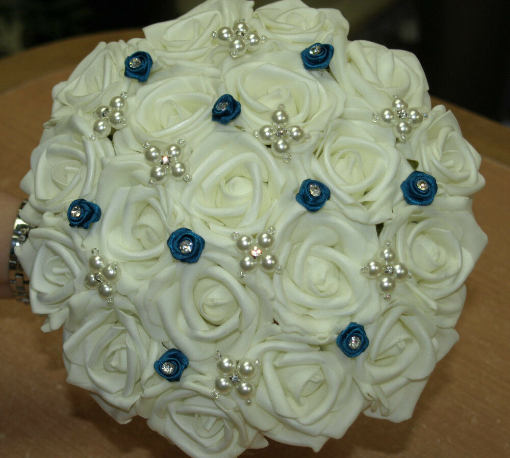 HANDTIED BRIDAL POSY, WEDDING BOUQUET, TEAL AND IVORY