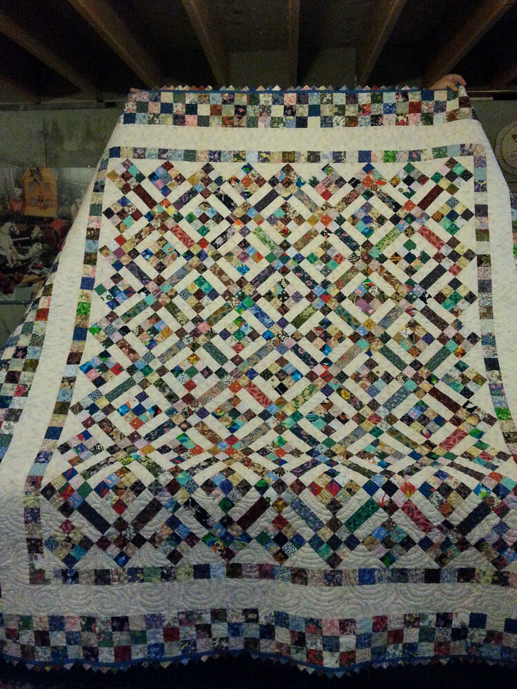 Hand Made New England 81 X 86 Scrappy 9 Patch Quilt Ebay