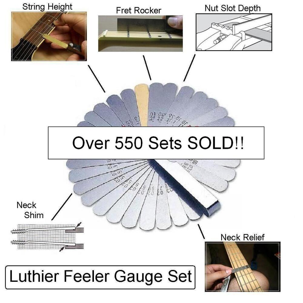 musicianatheart luthier feeler gauge set fret rocker string height guitar tool ebay. Black Bedroom Furniture Sets. Home Design Ideas
