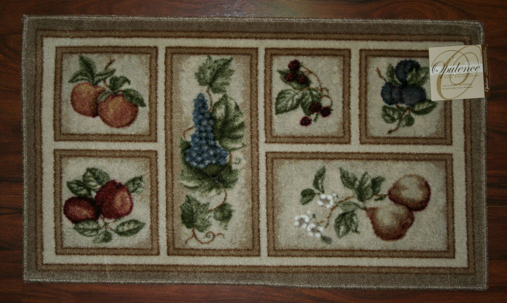20x34 kitchen rug mat beige tan washable fresh fruit grapes pears apples peach ebay for Kitchen rugs with fruit design