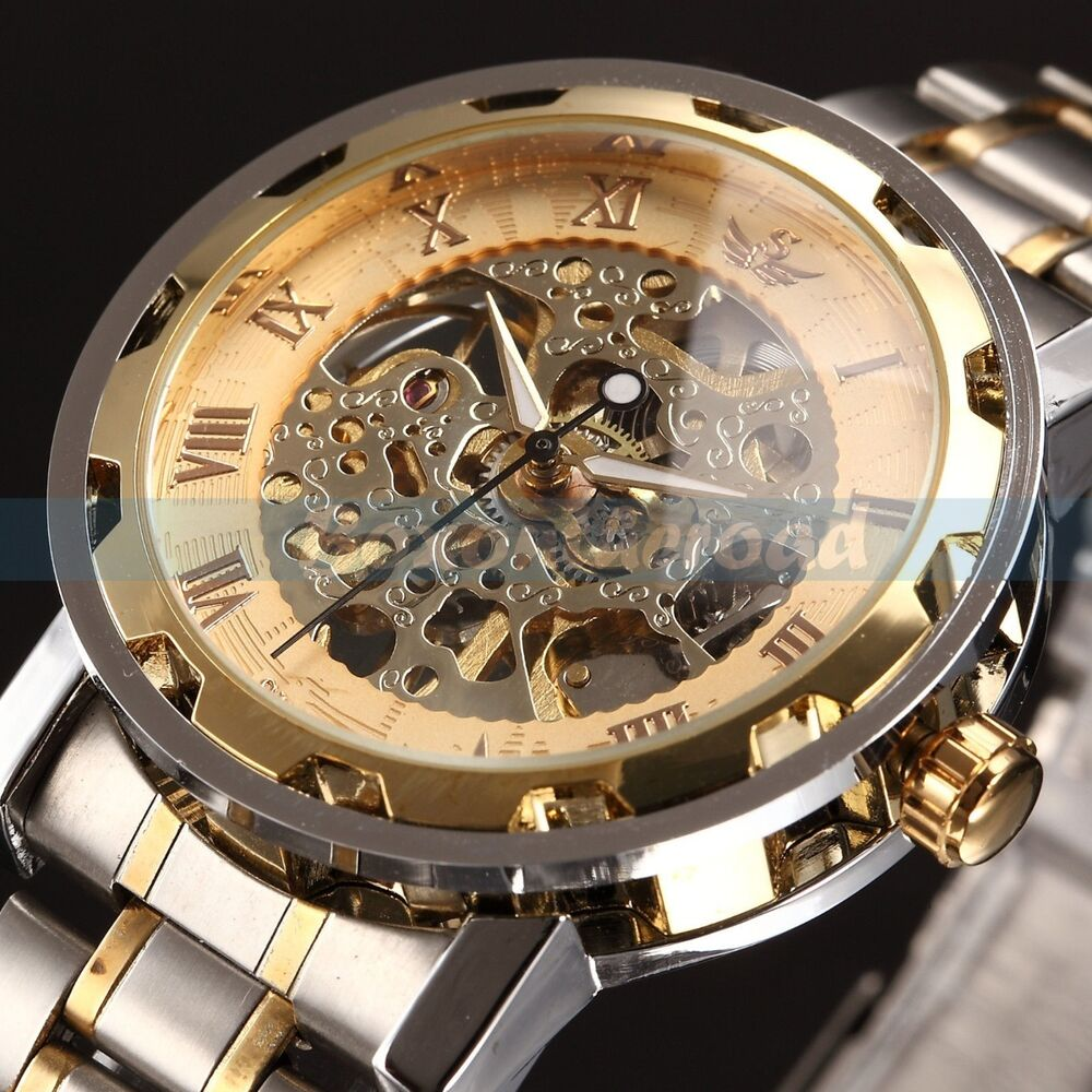 Mens classic transparent steampunk skeleton mechanical man stainless steel watch ebay for Classic skeleton watch