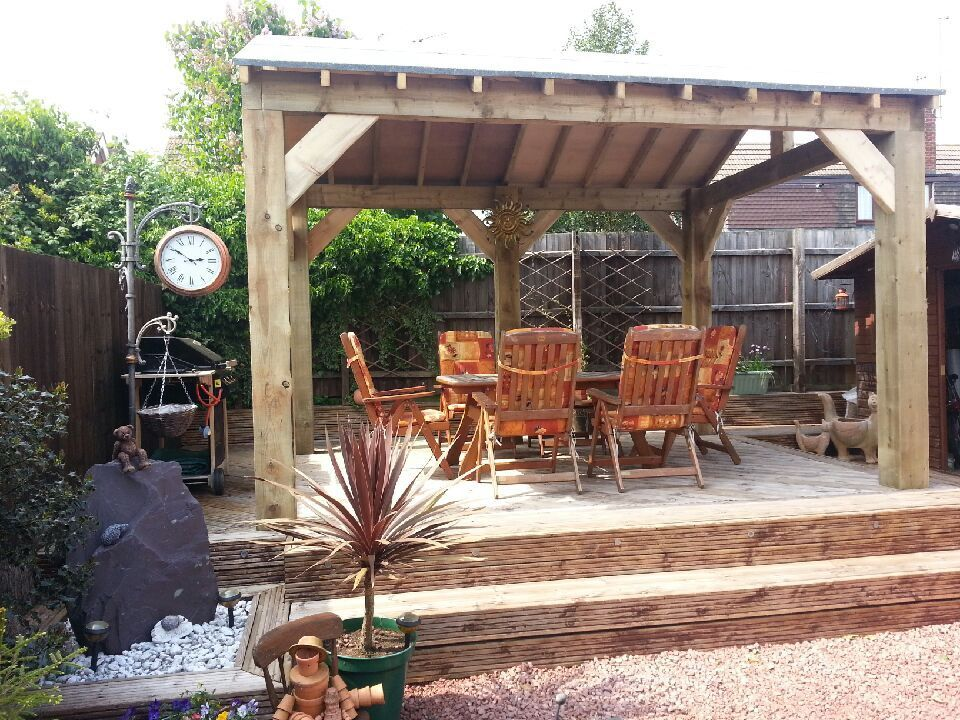 Open Sided Wooden Garden Shelter Gazebo Hot Tub Timber