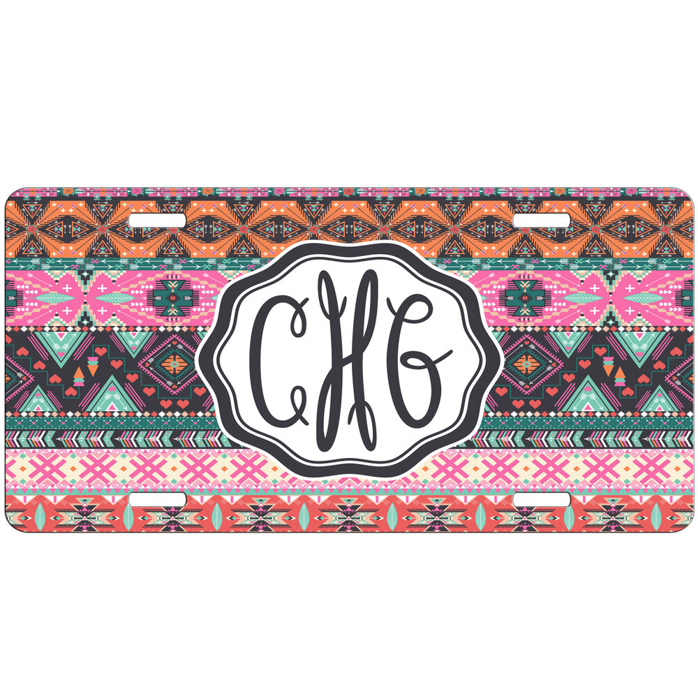 Personalized Car Tag Pink Tribal Aztec Monogrammed License Plate Auto Vanity Tag 742230887579 Ebay