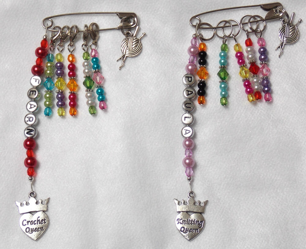 Knitting Stitch Markers Nz : Personalised Knitting Crochet Stitch Markers Craft Bag Charm & 5 Stitch M...