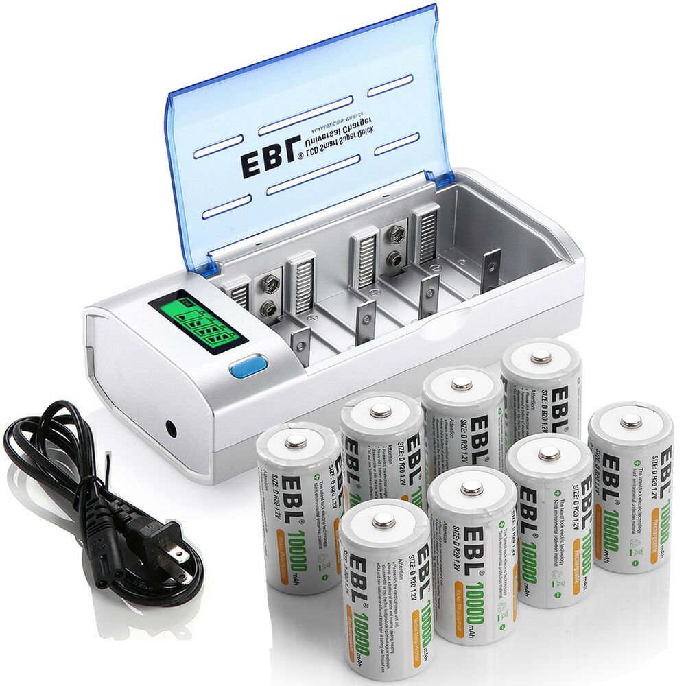 EBL AA AAA C D 9V NIMH NICD Battery Charger with 8 D Size ...
