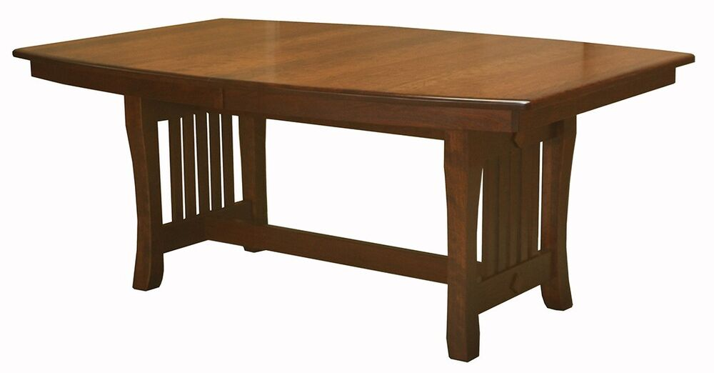 amish mission trestle dining table boat top rectangle