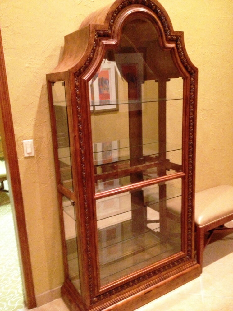 Wood and glass display cabinet ebay