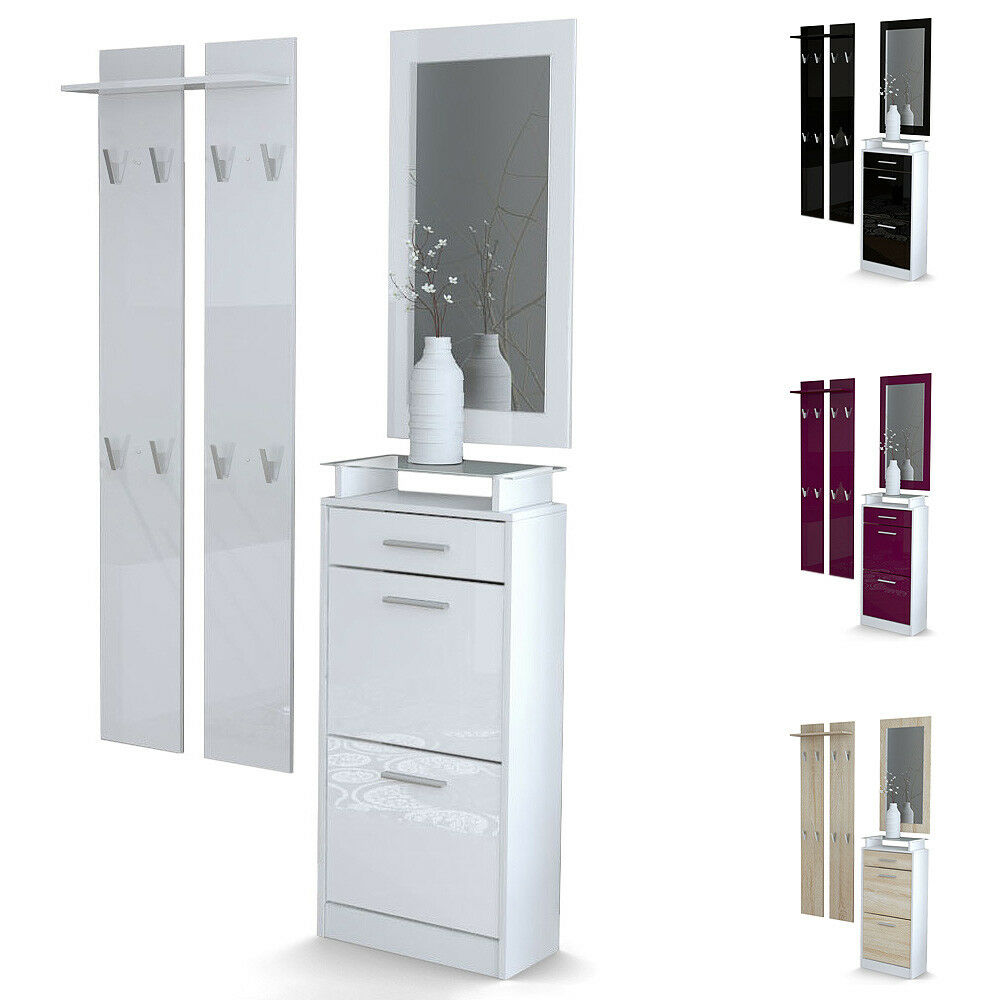 garderobenset flur garderobe dielenset loret v2 mini wei hochglanz naturt ne ebay. Black Bedroom Furniture Sets. Home Design Ideas