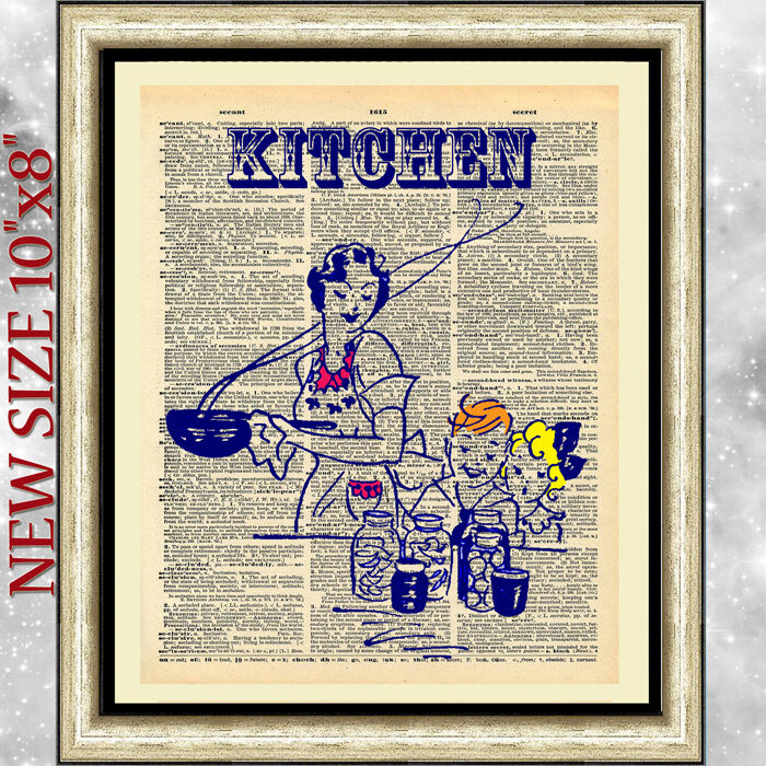 ART PRINT DICTIONARY ANTIQUE BOOK PAGE Kitchen Retro