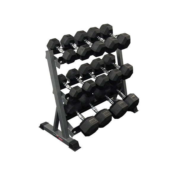 Rubber Dumbbell Set: 10kg - 40kg Rubber Hex Dumbbell Set With 3 Tier Rack