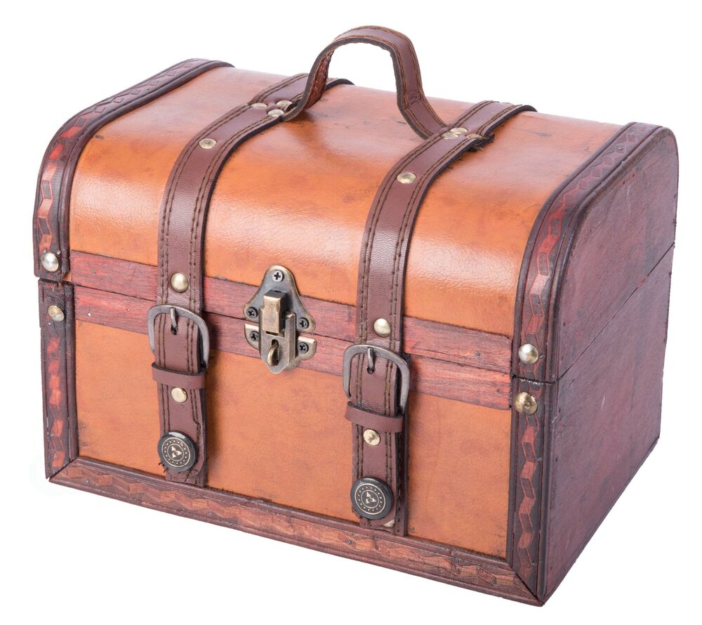 Decorative wood leather treasure box small trunk chest