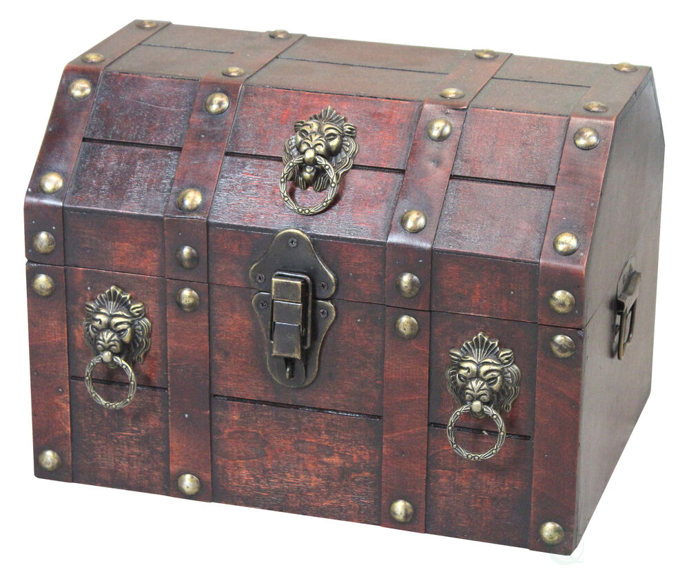 Old Charm Coffee Tables Ebay: Antique Wooden Pirate Treasure Chest With Lion Rings And