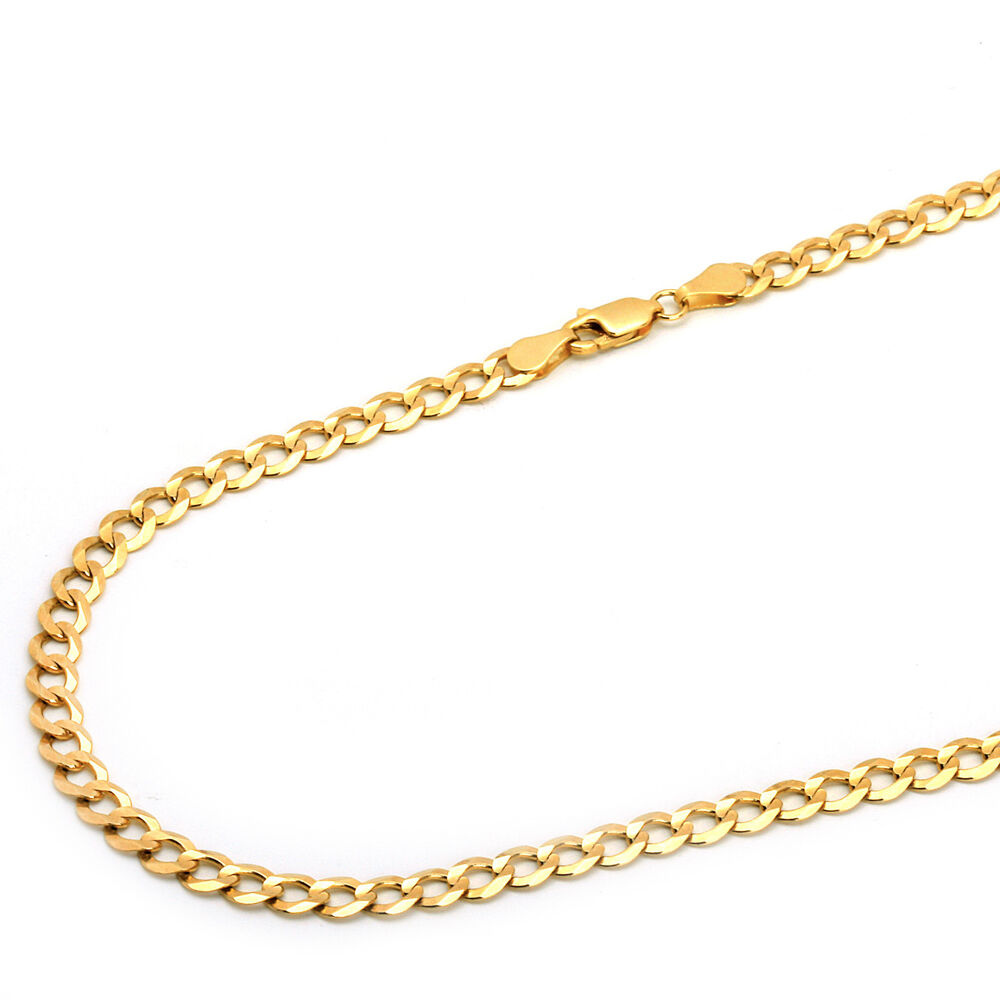 14k solid yellow gold 5mm concave curb cuban chain. Black Bedroom Furniture Sets. Home Design Ideas