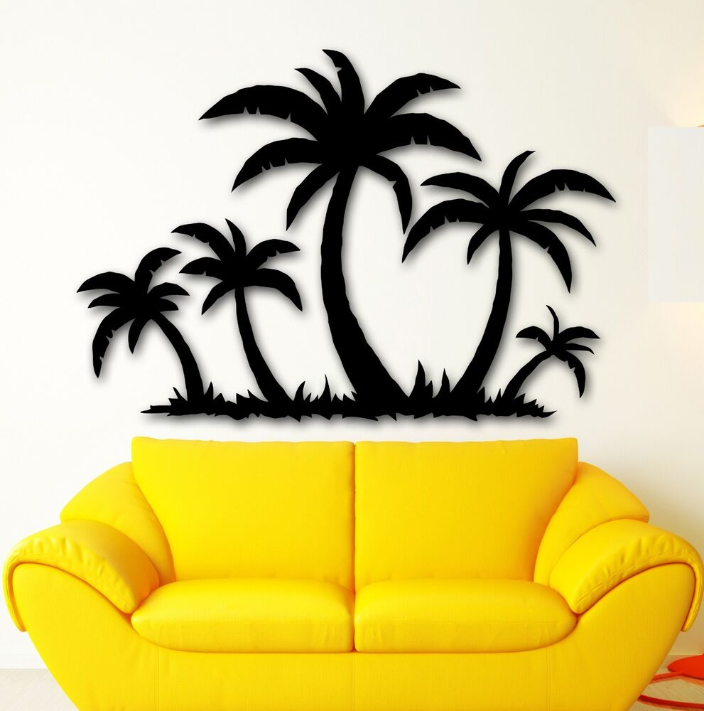 Vinyl decal palms tropical tree decor beach relax wall for Beach wall mural sticker