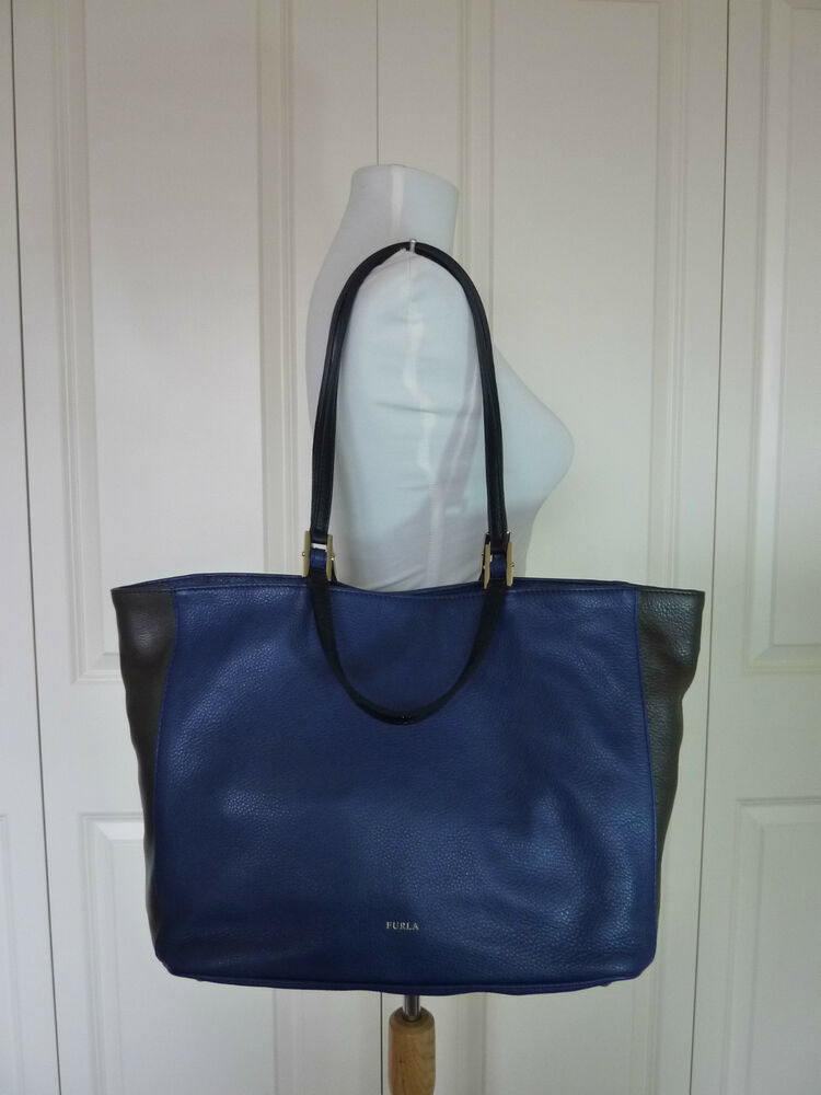 04cd30abef4 Details about furla ink blue lead gray gemini convertible strap tote bag  made in italy jpg