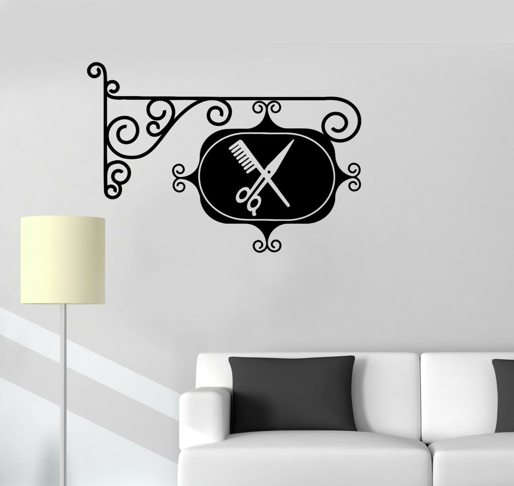 wall sticker vinyl decal sign barbershop hair salon stylist hairdresser ig1787 ebay. Black Bedroom Furniture Sets. Home Design Ideas