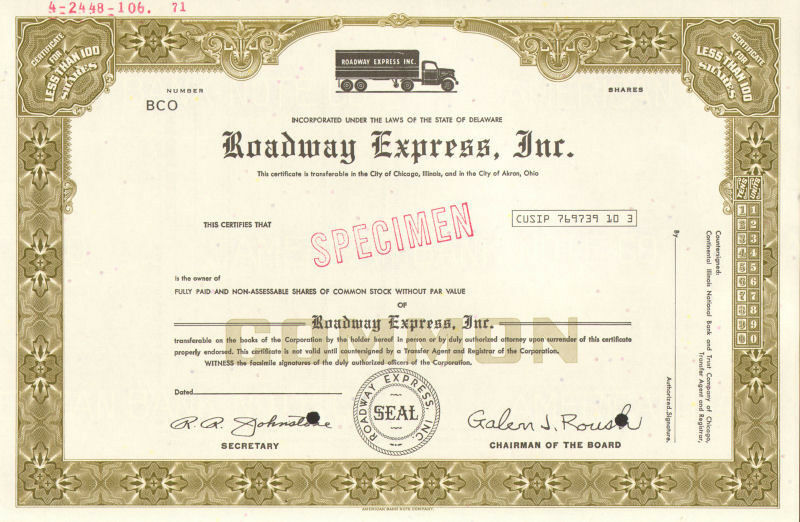Roadway Express Akron Ohio Trucking Company Stock Certificate