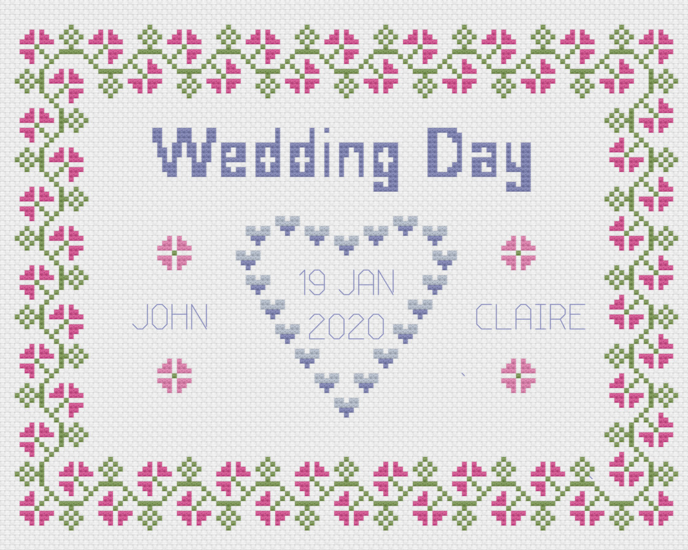 wedding day sampler cross stitch kit florashell ebay