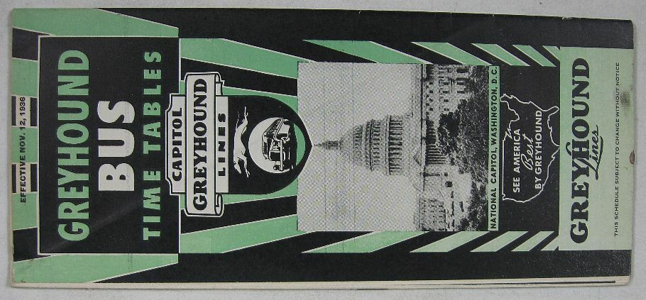Vintage nov 12 1936 greyhound bus time table ebay for 99 bus table